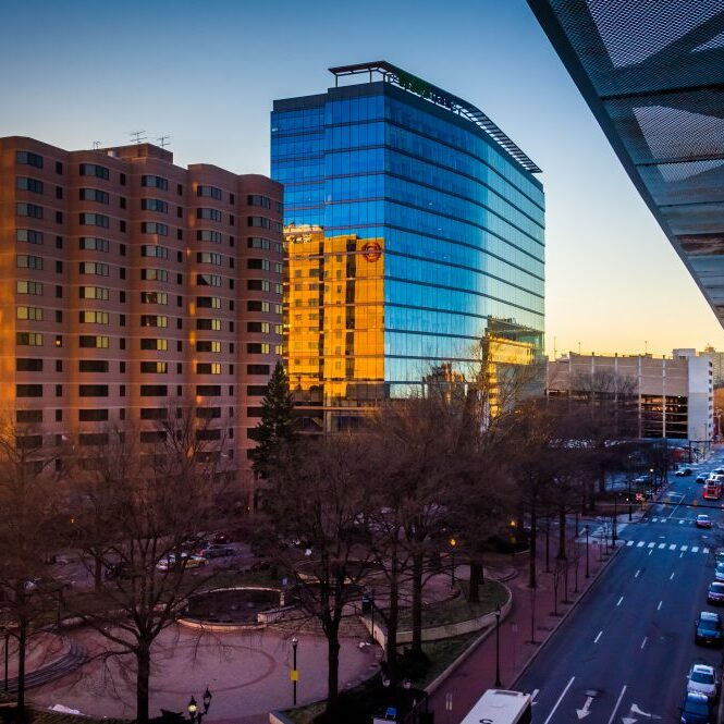 View of buildings along 11th Street at sunset in downtown Wilmington Delaware from the City Center Parking Garage. ** Note: Visible grain at 100%, best at smaller sizes